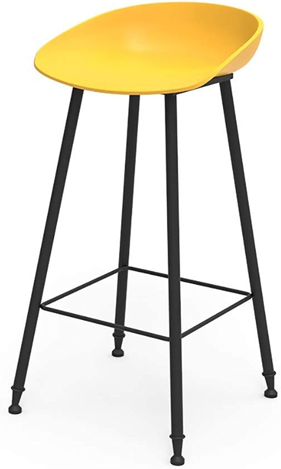 Bar Stool, bar Chair;Counter Chair;High Stool, Home Breakfast Iron Lounge Chair PP Cushion;Steel Bracket;Height 65 75cm 3 colors JINRONG (color   Yellow, Size   65CM)