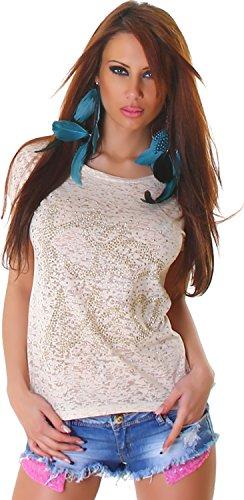 Camiseta de Mujer con Camiseta de Manga Corta Semitransparente Kiss ME con inscripción Remaches de Manga Corta de Moda 36,38,40,42 Beige (Ropa)