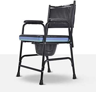Foldable Commode Chair, Bedside Commode Extra Wide with Bucket Splash Guard And Armrests for Elderly People with Disabilit...