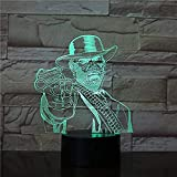 3D Illusion Light 3D Led Light Dormitorio Decoración Juego Red Dead Redemption Night Light Light Gift Decoración del hogar Arthur Morgan