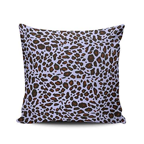 shenhaimojing Lavender Mauve And Brown Purple Lilac Leopard Pattern Custom,Decorative Pillow Case,Throw Pillows Cushion Cover,Lumbar Cushion Case,Double Sided Printed