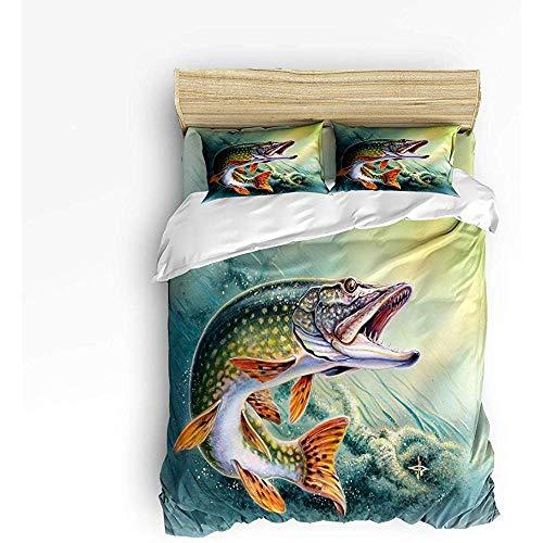 N/A 3 Stück Bettwäsche Set, Angeln Bettbezug Set Quilt für Kinder/Kinder/Jugendliche/Erwachsene Bass Fisch mit Haken aus Ocean Queen Größe 86 'x 70'