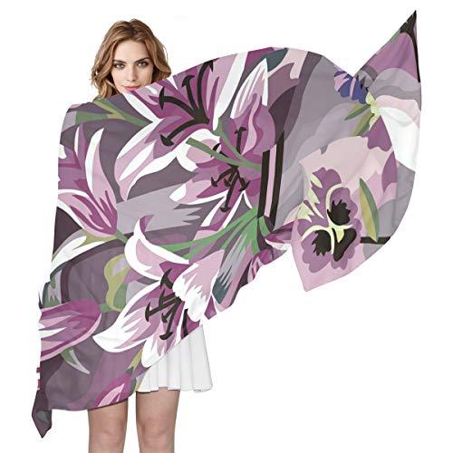 LUPINZ Damen Schal, Cartoon, elegant, Lilien, leicht, Schal, weiche Schals und Wickel für Abendkleider/hawaiianische Ferien