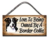 Birthday Occasion Border Collie Wooden Funny Sign Wall Plaque Gift Present Love is Being Owned by A Border Collie Dog