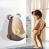 Vktechトイレ トレーニング 男の子用 おまる 小便器 可愛いカエル型  男児 おまる便器 取り付け 使い方 簡単 トイレ 練習 赤ちゃん 子供  全3色 (コーヒー)