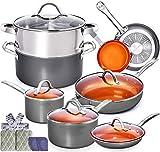 Copper Pots and Pans Set - 13pc Red Copper Cookware Set Copper Pan Set Ceramic Cookware Set Ceramic...