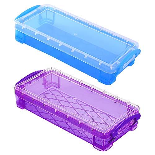 MZSM 2 Pcs Caja de Lápices Multiusos, Caja de Lápices Transparente,Cajas de Almacenamiento de Servicios Escolares con Tapa a Presión Funda de Lápices de Gran Capacidad para Estudiantes(Azul + Violeta)