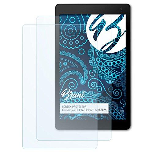 Bruni Schutzfolie kompatibel mit Medion LIFETAB P10601 MD60875 Folie, glasklare Bildschirmschutzfolie (2X)