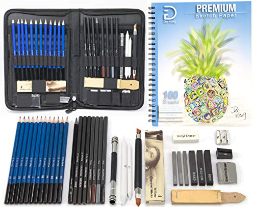 Drawing Pencils and Sketch Set (41pcs Art Supplies Kit) - Everything you need for Drawing and Sketching with Graphite, Charcoal and Pastels, with Full Size 9x12 Sketch Pad - Organized in Portable Case