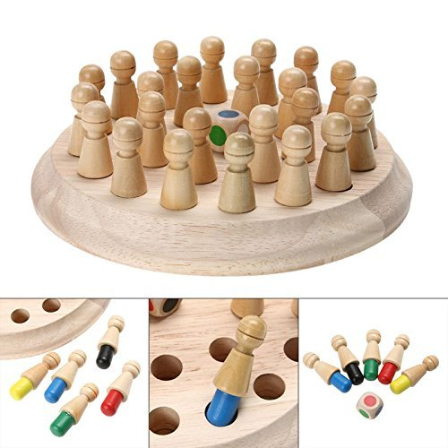 bingT Wooden memory game-2020Newset Wooden Memory Match Chess Toy Fun Table Board Game Family Board Games Toy for Kids and Adults Preschool Education (A)