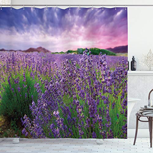 Ambesonne Lavender Shower Curtain, Serene Field View in Tihany Hungary Dramatic Dreamy Sunset Sky Nature, Cloth Fabric Bathroom Decor Set with Hooks, 84' Long Extra, Violet Green Pale Pink