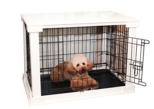 zoovilla White Dog Cage with Crate Cover, Dog Kennel