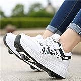 DHH Zapatos De Patinaje sobre Ruedas Patines En Línea Niños Niñas Zapatos De Skate con Ruedas Zapatillas De Gimnasia,White-32