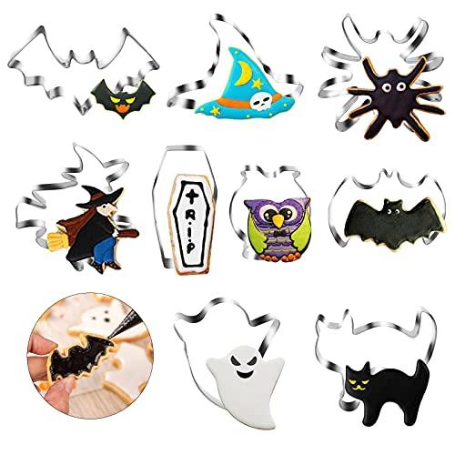 LAITER 9 moldes de galletas de acero inoxidable para murciélagos de araña de 3 cm para pasteles, galletas, postres, cortador repostería, decoración de tartas,fiesta de cumpleaños Halloween