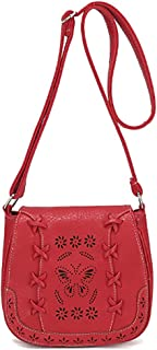 Women's PU Sanddle Bag Hobo Crossbody Shoulder Bag Cute Purse with Hollow Lacing Red