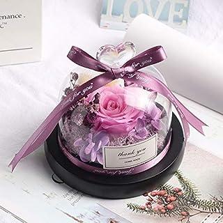 ガラスドームバレンタインデークリスマスギフトの中のフラワーデコレーションレッド永遠のバラ HYFJP (Color : グレー, Size : フリー)