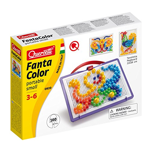 Quercetti - Fanta Color Portable Misto - Art Pegboard Set for Ages 3 Years & Up