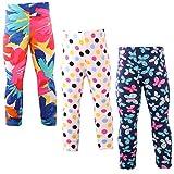Snyemio Pantalones Leggings Estampado Elásticos Stretch Medias para Niña 2-13 Años Paquete de 3 (Rosa, 104-110)