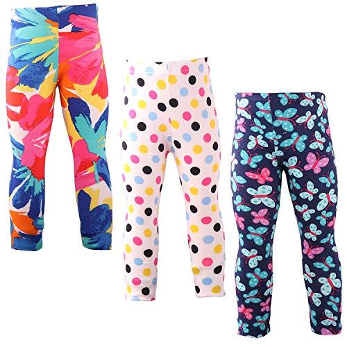 Snyemio Pantalones Leggings Estampado Elásticos Stretch Medias para Niña 2-13 Años Paquete de 3 (Rosa, 92-98)