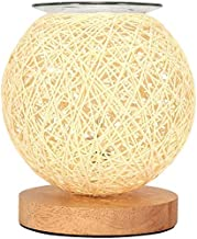 Elektrische Wax Melt Brander Rotan Bal Bureaulamp Moderne Plaid Rieten Rotan Aroma Light Bedside Night Light Aromatherapy ...