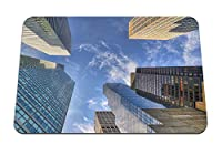 22cmx18cm マウスパッド (高層ビル空雲ガラスの建物) パターンカスタムの マウスパッド