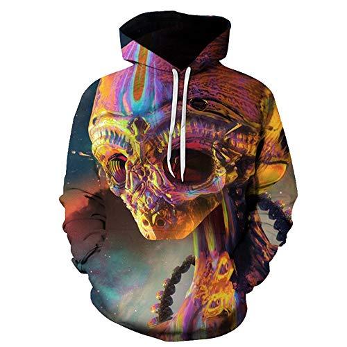 TLLW Unisex Fashion Alien 3D Kapuzenpullover Sweatshirt Sporttasche mit Tasche Herren Leichter Hoodie Unisex Erwachsene Crewneck Sweatshirt S-6XL Gr. L, 14