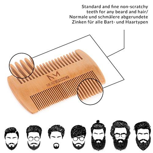 Bartpflege Set, Bartbuerste Wildschweinborsten & Bartkamm aus Holz, Bartschere Abbildung 2