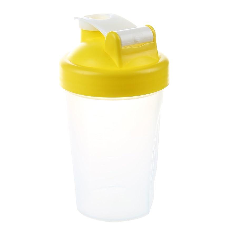 書き込み血心臓SODIAL スマートシェイク ジムプロテインシェーカー ミキサーカップミキサーボトル ステンレスウィスキーボールが付きます イエローカラー