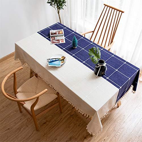 Mantel De Cocina De Dos Colores para Sala De Estar En Casa, Paño A Prueba De Polvo con Flecos De Celosía, Cubierta De Mesa De Café De Poliéster 90x90cm