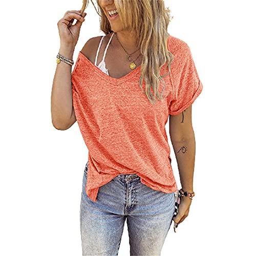 PRJN Camiseta de Mujer Tops de Manga Corta Camiseta de Color sólido con Cuello en V Dobladillo Largo Tops Casuales de Verano Blusa básica de béisbol Camisetas de Manga Corta de Verano Tops Suelta