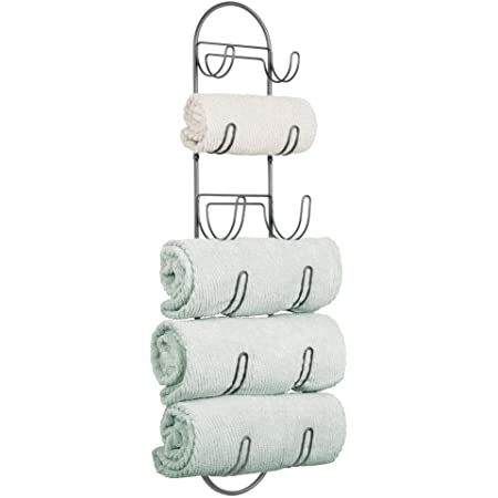 Perfect Hanging Caddy for The Bathroom or Bedroom mDesign Wall Mounted Towel Storage Rack White Modern Hanging Hooks for Bathroom Storage