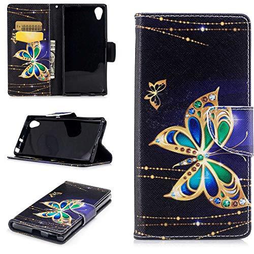 HCUI Sony Xperia XA1 Plus Handyhülle PU Flip Leder Cover mit Cash Card Slots, Leder Tasche und Ständer Magnetverschluß Kratzfestes Schutzhülle für Sony Xperia XA1 Plus - Schmetterlings Schwarz.
