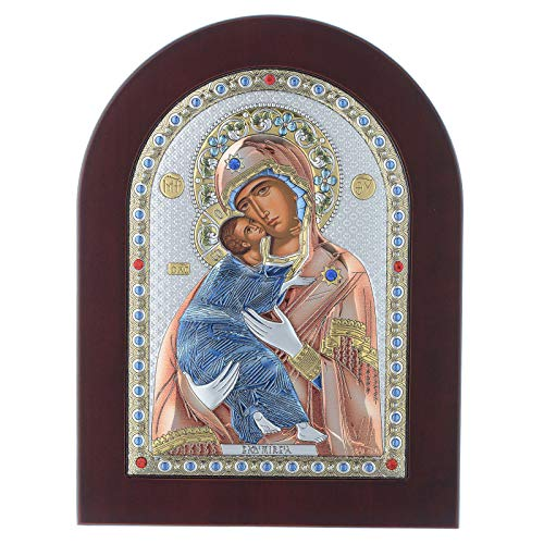Holyart Icono Serigrafiado Virgen de Vladimir Plata, 15 x 21 cm (5.91 x 8.27 Inc.)