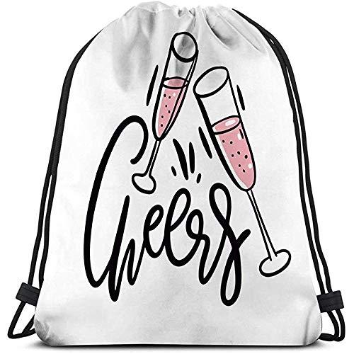 BOUIA Drawstring-Rucksack-Taschen-Turnhallen-Reise-Yoga-zufälliger Snackpack-Umhängetasche jubelt Beschriftung lokalisiertem weißem Kawaii der von Hand gezeichneten Weingläser zu