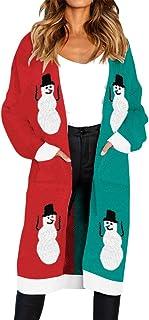 Romacci Cardigan Suéter Otoño de Las Mujeres de Punto Largo Estampado Leopardo de Manga Bolsillo Prendas de Punto