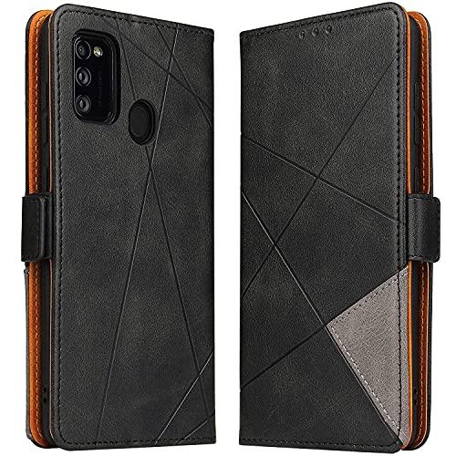 BININIBI Hülle für Samsung Galaxy M21, Klapphülle Handyhülle Schutzhülle für M30s Tasche, Lederhülle Handytasche mit [Kartenfach] [Standfunktion] [Magnetisch] für Samsung Galaxy M21 / M30s, Schwarz