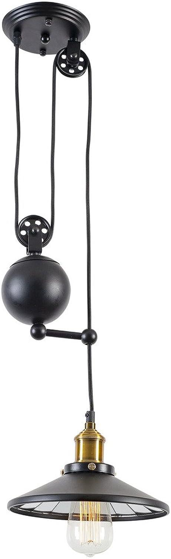 Light Society Rawley Pendant Light, Matte Black, Vintage Modern Industrial Pulley Lighting Fixture (LS-C120)
