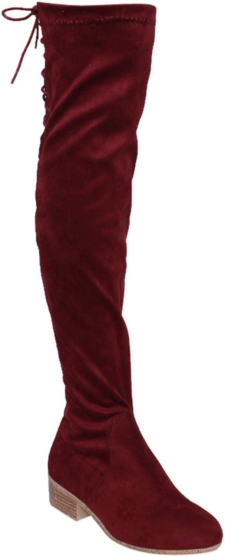 Bonnibel GF68 Women's Lace Up Inside Zipper Low Heel Over Knee High Boots