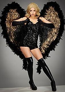 Deluxe Extra Grande Negro y alas de ángel de Pluma de Oro