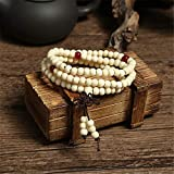 XKMY Pulsera de cuentas de madera de sándalo natural de 6 mm para mujer, budista, cuentas de oración de madera, Mala unisex, joyería para hombre (color metálico: blanco)
