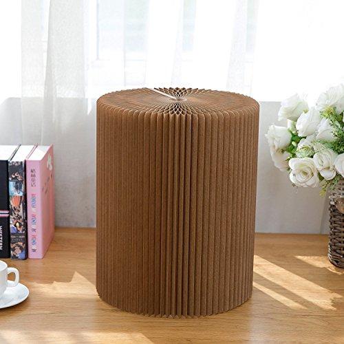 Weshine Tabouret pliable moderne en papier kraft écologique avec base en nid d'abeille - Pour la maison, le bureau et l'extérieur - 28 x 30 cm - Marron