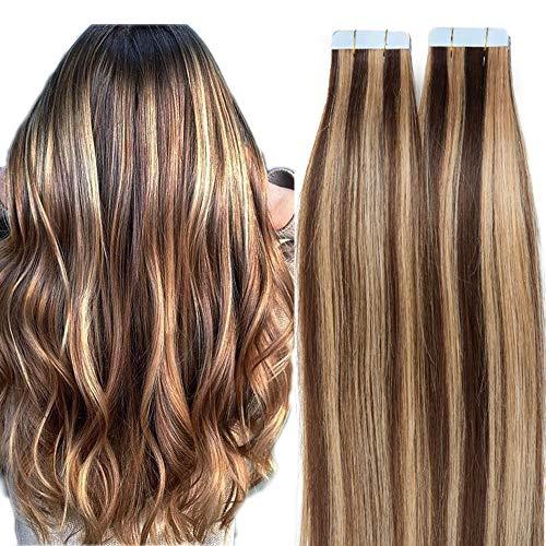 SEGO Extension Adhesive Cheveux Naturels 30g Bande - 45 CM 4P27#Marron Chocolat Mèche Blond Foncé [1.5g X 20 pcs] - Tie and Dye Ombre