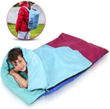 Kids or Children's Junior Sleeping Bags – Polyester Ultralight Sleeping Bag for Camping & Hiking – Withstands Extreme Temp. of 32-60°F – Includes Backpack for Storage & Carrying
