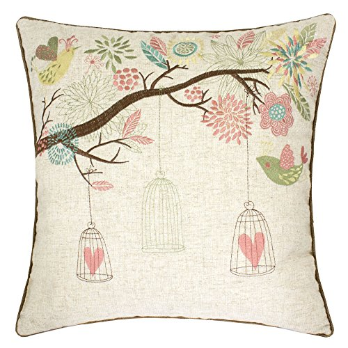 Embroidered Birds and Trees Shabby Chic Cushion Case