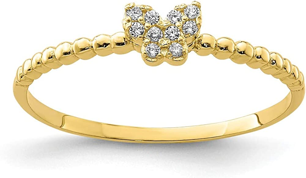 10k Yellow Gold Butterfly Cubic Zirconia Cz Band Ring Size 7.00 Fine Jewelry For Women Gifts For Her