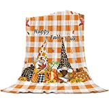 Gogobebe Fall Flannel Fleece Throw Blanket for Sofa Couch Bed Thanksgiving Leopard Pumpkins and Gnomes Orange Buffalo Check Soft Cozy Lightweight Blanket for Adults/Kids 39x49inch