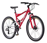 Schwinn Protocol 1.0 Mmens and Womens Mountain Bike, 26-Inch Wheels, 24-Speed Drivetrain, Lightweight Aluminum Frame, Full Suspension, Red
