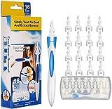 Ohrenreiniger,Q-grips Ohrenschmalz,Sicheres und Weiches 360 Grad Spirale Silikon Ear Cleaning kit mit 16 abwaschbaren Ersatzköpfen,Geeignet für Kinder und Erwachsene , Blau