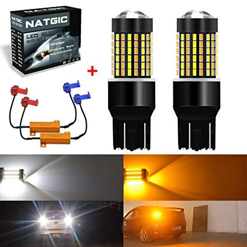NATGIC 7443 7444NA 992 Ampoules LED 3014 120 - Ampoules LED Bicolores SMD Blanc/Ambre Clignotant sans Erreur Canbus avec résistances de Charge de 50 W et 8 Ohms