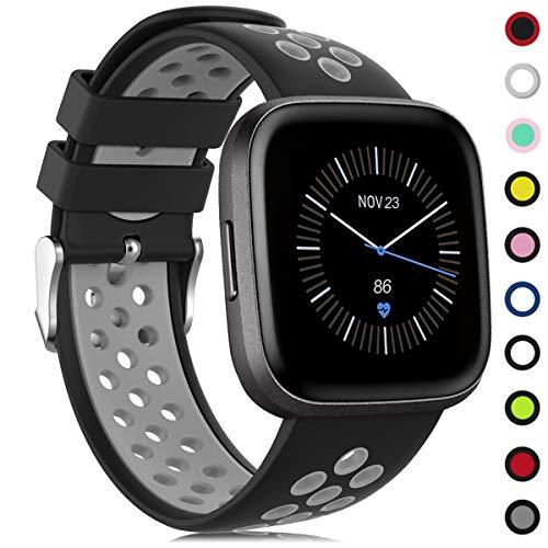 Onedream Kompatibel für Fitbit Versa Armband/Versa 2 Armband, Silikon Sport Ersatzarmband Zubehör Damen Herren Kompatibel für Fitbit Versa/Versa 2/ Versa Lite/Versa Special Edition Schwarz-Grau